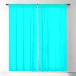 Neon Aqua Blue Bright Electric Fluorescent Color Blackout Curtain