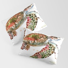 Sea Turtle, Brown, Olive green Pink Shades Pillow Sham