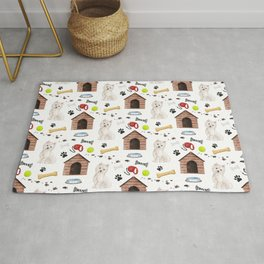 West Highland Terrier Half Drop Repeat Pattern Rug