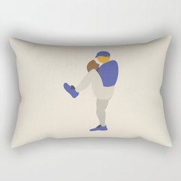 Baseball Player in Blue Pitching from Windup, Flat Graphic Rectangular Pillow