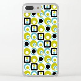 Lime Turq Black White Circles Squares Clear iPhone Case