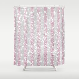 Elegant pink white faux glitter stripes pattern  Shower Curtain