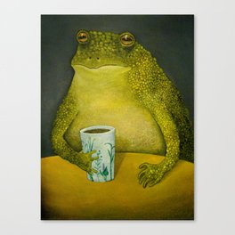 Toad's morning cup Canvas Print