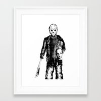 michael myers Framed Art Prints featuring Jason VS Michael Myers by Oscars Moreno