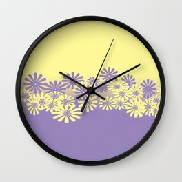 Lavender and Lemon Pattern Wall Clock