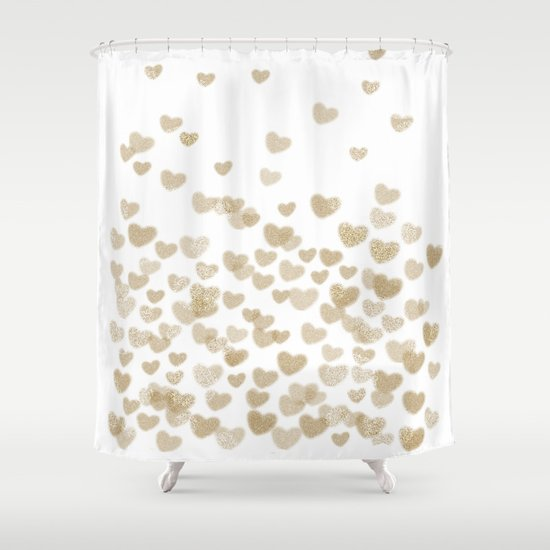 Gold Glitter Hearts White Background For Valentines Day Love Bokeh For Trendy Girls Cell