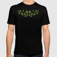 Irish Clover Pattern Black Mens Fitted Tee LARGE