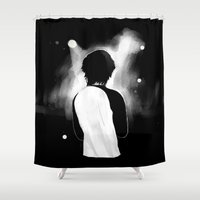 louis tomlinson Shower Curtains featuring WWA Louis Tomlinson by crystaltaysm
