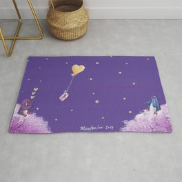 Penguin Sends Love Letter with Heart Balloon to Friend Across Starry Sky Rug