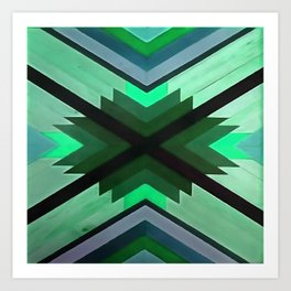 Navaho Vibes Geometric Pattern - Black Pine Aqua Art Print