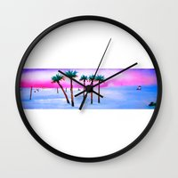 volleyball Wall Clocks featuring Beach Volleyball Sunset by sky愛
