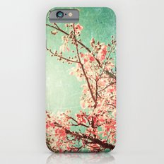 Pink Autumn Leafs on Blue Textured Sky (Vintage Nature Photography) iPhone 6 Slim Case