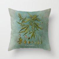 cannabis Throw Pillows featuring Cannabis by jbjart