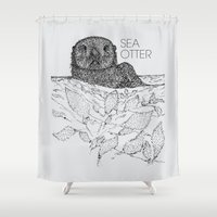 otters Shower Curtains featuring Sea Otter Sketch by Hinterlund