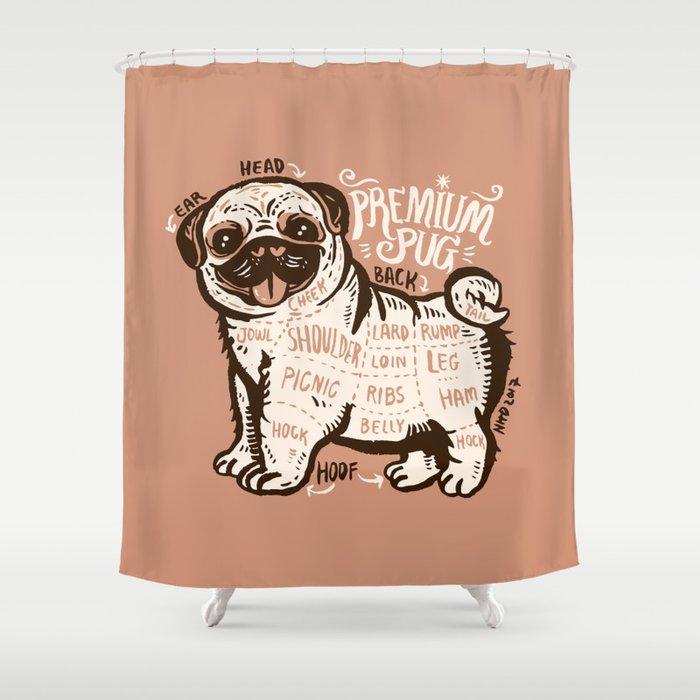 Anatomy of pug Shower Curtain by anukunhamala   Society6