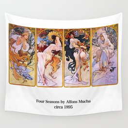 """Alfons Mucha, """" Four Seasons (1895)"""" Wall Tapestry"""