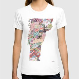 Vermont map Portrait T-shirt