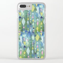 Geometric Slide in Cool Blue Clear iPhone Case