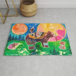 Family bear - animal - by LiliFlore Rug