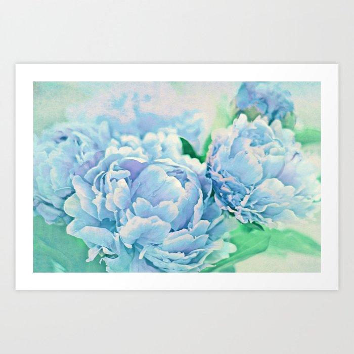 Blue Mist Peonies Art Print