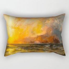 Majestic Golden-Orange Sunset Over the Troubled Atlantic Ocean landscape by Thomas Moran Rectangular Pillow
