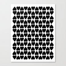 Diamond Hearts Repeat Black Canvas Print