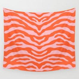 Zebra Wild Animal Print Orange and Pink Wall Tapestry