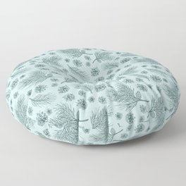 Pine Cones and Pine Branches Pattern (Mint and Pine) Floor Pillow