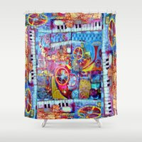steam punk Shower Curtains featuring Abstract Steam Punk Music Collage by SharlesArt
