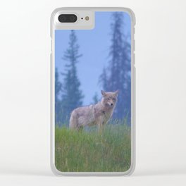 Early morning coyote sighting in Jasper National Park Clear iPhone Case