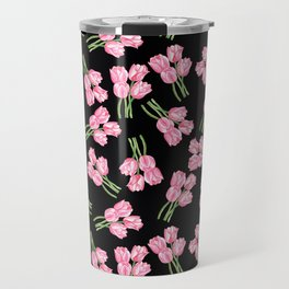 Tulips on black Travel Mug