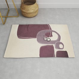 Retro Abstract Design in Mauve and Mulberry Rug