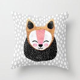 Little Arctic Fox Throw Pillow