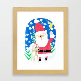 Santa and Rudolph Framed Art Print
