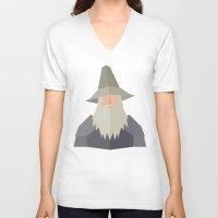 gandalf V-neck T-shirts featuring Gandalf by Cristiano Ávila Salomão