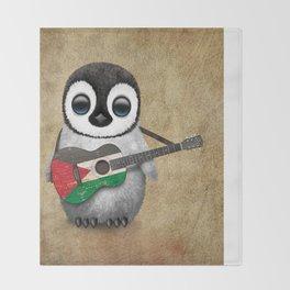 Baby Penguin Playing Palestinian Flag Acoustic Guitar Throw Blanket
