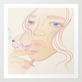pastel portrait of girl smoking Art Print