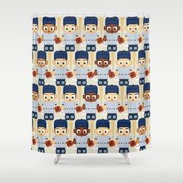 Baseball Pinstripes White and Blue - Super Cute Sports Stars Shower Curtain