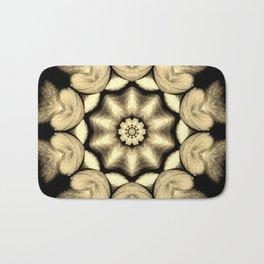 Beige Black Heart Mandala Kaleidoscope Pattern Bath Mat