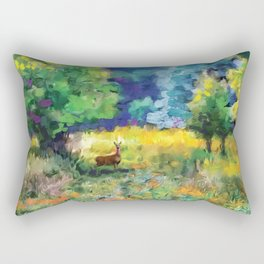 Deer in a Meadow Rectangular Pillow