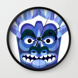 Blue Tiki Mask Wall Clock