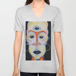 Third Eye Alien Geometric Painting Ascension Clairvoyant Channeled ARtwork Unisex V-Neck