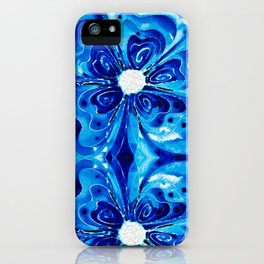 Blue Glory - Abstract Flower Floral by Sharon Cummings iPhone Case