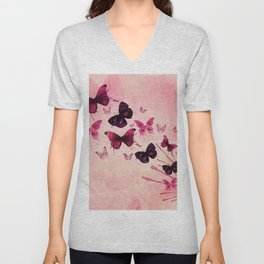 PINK BUTTERFLIES WATERCOLOR Unisex V-Neck