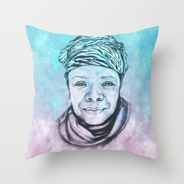 Maya Angelou Portrait on Blue and Pink Throw Pillow