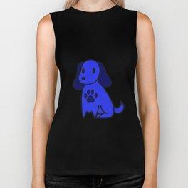 The Blue Dog With Paw Print Biker Tank