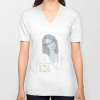 tina fey V-neck T-shirts featuring Illustration Tina Fey 'Talk to Food' by Katie Munro