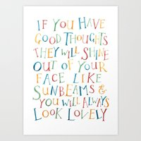 roald dahl Art Prints featuring Roald Dahl Quote For Kids Sunbeams Quote Nursery Art Inspirational Quote by FeatherandSixpence