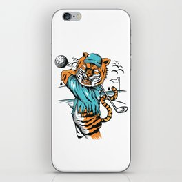 Tiger golfer WITH cap iPhone Skin