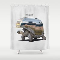sneaker Shower Curtains featuring Pimp My Ride by rob art | illustration